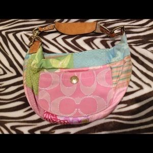 Coach Pastel pink green blue shoulder sling purse